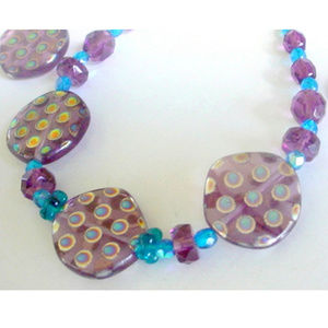 Purple Art Glass Bracelet & Earrings Metallic Dots